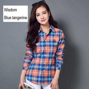 fashion ladies plaid shirt tops long sleeve women casual embroidered shirt Pure cotton flannel shirt blouse women shirts 201202