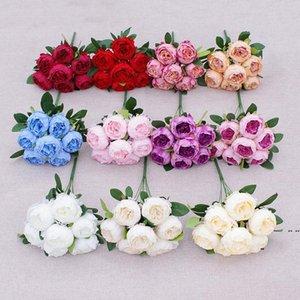 7 cabezas Artificial Peony Flower Simulación Camelia Té de seda Rose para DIY Home Garden Decoración de la boda HWA4617
