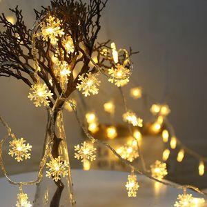 2m 20leds floco de neve corda fada luz bateria alimentado branco christmas decoração home festa de férias luz luzes lâmpada