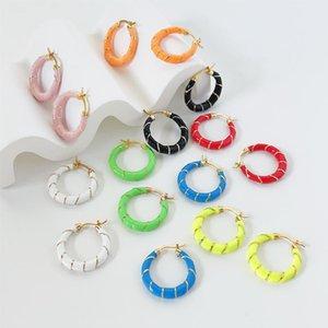 Hoop & Huggie LOVOACC Minimalist Cute Candy Color Circle Earring For Women Multicolor Enamel Surround Brass Earrings Summer Jewelry
