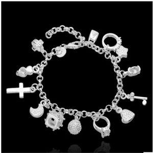 Yeni Varış Moda Bayan Charms Bilezik Bileklik Kaplama Gümüş Güzel Zincir Bilezik Takı 1128 Q2