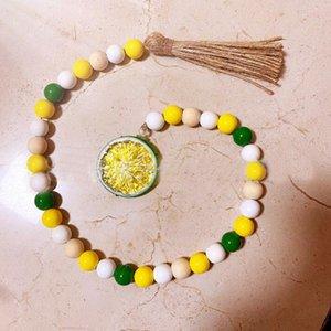Perles de bois de citron Tassel suspendu Pendentif Ferme Décor Ins méchant Création Creative Corde Perles Enfants Home Décoratif HHC7112