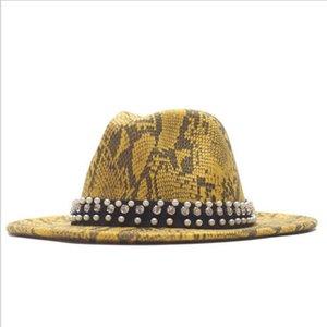 Color Men Felt Jazz Hat Wool Winter Snake Skin Fedora Cap Women Woolen Pearl Autumn Lady Streetwear Wide Brim Trilby Caps Hats