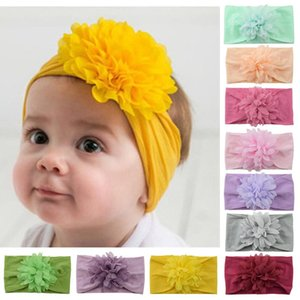 32 Colors INS Baby Girls Big Bow Headbands Cute Chiffon Flower Bowknot Headwear Kids Headdress Newborn Turban Head Wraps