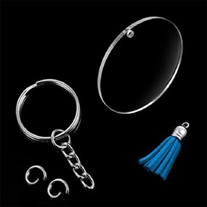Acrylic keychain Key rings Plastic DIY 24-piece set Multi-colors portable creative gift Transparent round acrylic RRD6924