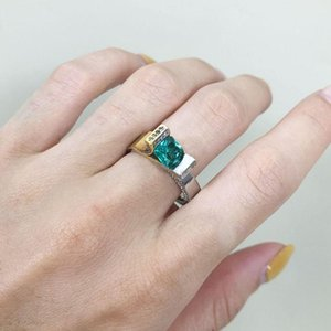 Wedding Rings Hainon 2021 Unique For Women Green Square Crystal CZ Jewelry Party Trendy Love Gift Silver Color Ring