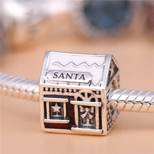 2016Christmas 100% S925 Sterling Silver Santas Home Charm Bead with Red Enamel Fits European Pandora Style Jewelry Bracelets & Necklace