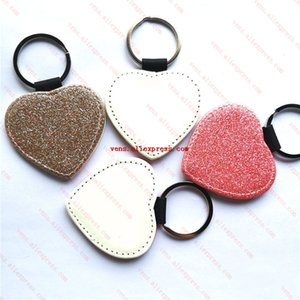 sublimation blank pu leather keychains pink golden heart bright powder key ring hot transfer printing material 20pieces lot 210409