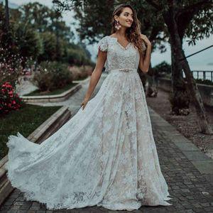 boho wedding dress lace V neck A Line ivory robe de mariage france bridal gown Brush Train sukienki wizytowe custom