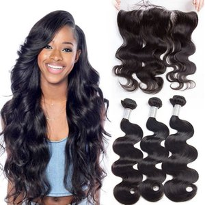 9a Virgin Brazilian Human Weave 3 Bundles with Lace Frontal Closure Pre Plucked Peruvian Indian Malaysian Cambodian Body Wave Mink Hair