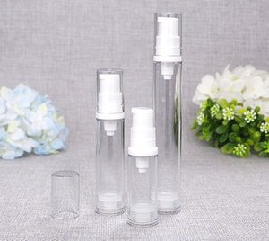 5ml 10ml 15ml Clear Bottle Empty Travel Portable Refillable Plastic Airless Vacuum Pump Vial Press Container for Essence Cleanser Emulsion