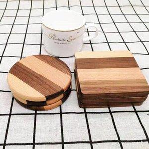 Dauerhafte quadratische Runde Schüssel Teekanne Tischsets Dekor Home Tisch Tee Kaffeetasse Pad Wood Untersetzer Hitzebeständige AHF6208