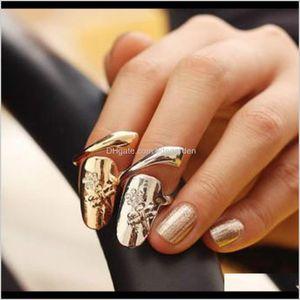 Band Wholesale Exquisite Cute Retro Queen Dragonfly Design Rhinestone Plum Snake Goldsier Ring Finger Nail Rings 2Rf7R Qjftv
