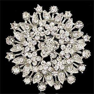웨딩 파티 도착 공장 직접 저렴한 가격 여성 브로치를위한 큰 합금 꽃 크리스탈 브로치