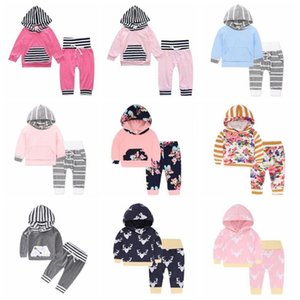 Baby Girl Clothe Boy Camo Striped Hoodie Pants Suits Floral Flowers Clothing Sets Long Sleeve INS Letter Coat Pant Outfits 23 Colors D6776