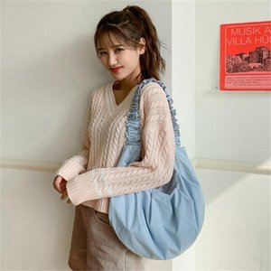 Waist Bags Ladies' Small Fresh Literary Underarm Bag Pure Color Pleated All-Match Shoulder Black Beige Polyester Lining