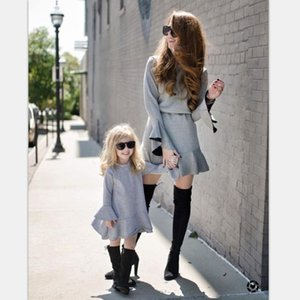 Casual Long Flare Sleeve Round Neck Dresses Family Matching Outfit Mother Daughter Autumn Parent-child Couple Dress