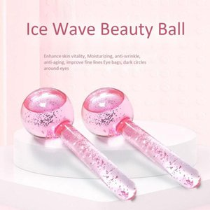 2pcs pack Facial Massage Ice Ball Energy Beauty Crystal Glass Cooling Water Wave For Face Wrinkle Remover Skin Care