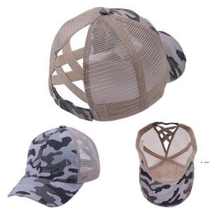 Camuflaje malla sombrero diseñadores mujeres hombres criss cruz caballo cola de caballo béisbol bolas gorras de verano deportes visera neta tapa al aire libre cabeza hwf6487