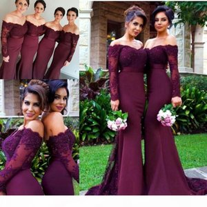 Vintage Burgundy Maroon Mermaid Bridesmaid Dresses Off Shoulder Long Sleeve Lace Beads Cheap Custom Made Bridesmaids Maid of Honor Dress