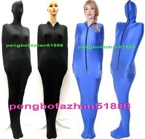 Siyah ve Mavi Likra Spandex Mumya Takım Kostümleri İç Kol Kollu Unisex Uyku Tulumları Mumya Kostümleri Sleepsacks Vücut Çantaları P434
