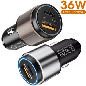 36W Quick Charging Type c PD QC3.0 Dual Usb Ports Car Charger Alloy Adapter For Iphone 7 8 11 12 Samsung htc android phone gps pc