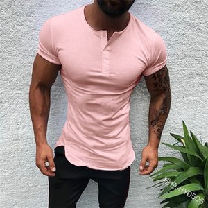 Plain Tee Stylish Tops Men T Shirt Short Sleeve Muscle Joggers Bodybuilding Tee Male Clothes Slim Fit White Pink Tee fashionable