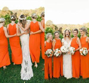 Orange Chiffon Bridesmaid Dresses Sexy Split 2021 Elegant Jewel Neck Sleeveless Floor Length Maid Of Honor Gowns Plus Size Country Wedding Guest Prom Dress AL8890