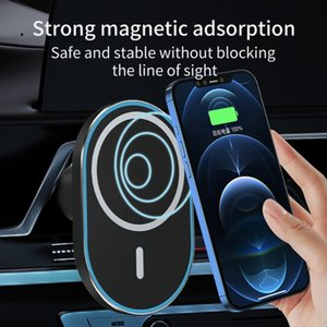Min.1pcs Innovative Design Portable Wireless Charger 15w Quick Charge Car Stand Strong Magnetic Smart Phone Holder