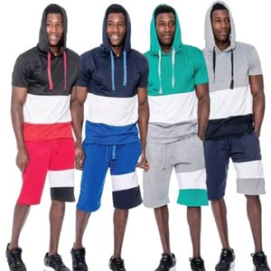 2021 Summer Men's Loose T-shirt Hooded Color Matching Fashion Casual Sports Shorts Suit