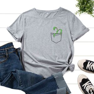 Women T Graphic Cotton Print Tee Shirts for Short Sleeve Crew Neck Summer Tops Female Clothes Pocket Plant Lov