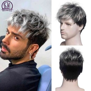 MSIWIGS Men Short Straight Ombre Grey Brown Synthetic Wig White for Male Hair Fcins Realistic Natural Heaear