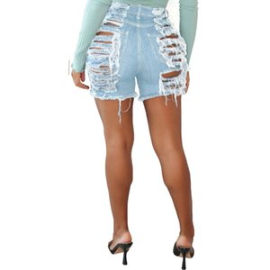 Size Beach Pant Hollow Out Hole Ripped Jeans Summer High Waist Elastic Bandage Denim Short Fashion Stretch Plus Women Pant Washes