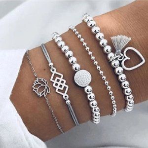 Bohemian Multi Layer Lotus Heart Tassels Charm Bracelets Bangle 5Pcs Set Vintage Bead Boho Summer Beach Bracelet For Women Jewelry Accessories Pulseras Bijoux Gift