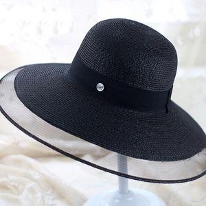 Women Summer Mesh Straw Hat Outdoor Beach Vacation Sun Hats Vintage Solid Color Wide Brim Caps