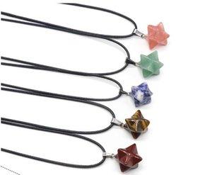 ستار بوينت ميركابا رمز الحجر الطبيعي قلادة قلادة أسود جلد سلسلة كريستال الكوارتز شفاء التأمل مكعب الأحجار الكريمة مجوهرات للنساء