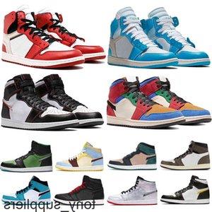 Chaussures haut zoom blanc noir 1 1s hommes basketball blanc unes de chicago jumago jumpan cravate colorant noir gymnase rouge en marche bleue