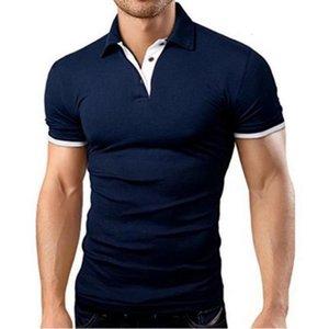 t. 비즈니스 코튼 폴로 패션 캐주얼 광고 셔츠 멀티 컬러 스탠드 칼라 남성 짧은 소매