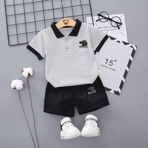 2020 Summer Childrens Clothing Boys New Suits Boys Polo T-shirt+Shorts Kids Two-piece Set Child Casual Baby Crocodile Print Sets 731 S2