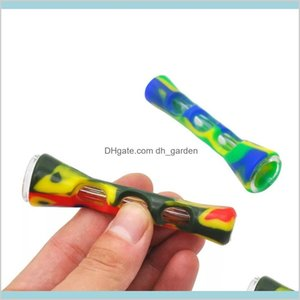 Other Household Sundries Home Garden Horn Shape Joint Holder Fda Sile One Hitter Dugout Glass Smoking Herb Hand 87Mm Tobacco Cigarette
