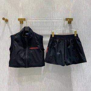 Женские Куртки Жилетные Костюмы Письма Цветущие Zippers Scestsuits Без рукавов Красные полосатые вершины и шорты Устанавливает Пальто для леди Slim Куртка Размер S-L