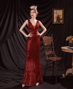 Elegant Rose Gold Sequins Long red Evening Dresses Sexy V-neck Backless Prom Party Gowns A-line Formal Dress Women Wear 2021