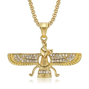 Hip Hop Bling Iced Out Rhinestones Stainless Steel Faravahar Ahura Mazda Pendant Necklace For Men Zoroastrian Jewelry Necklaces