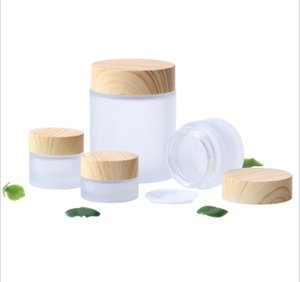 Frosted Glass Jar Cream Bottles Round Cosmetic Hand Face Packing 5g 10g 30g 50g Jars With Wood Grain Cover
