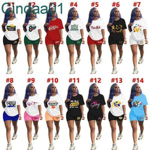 Women Tracksuits Two Pieces Set Designer Sexy Yoga Suits Sportswear Casual Letters Pattern Printed Clothes Short Sleeve Shorts