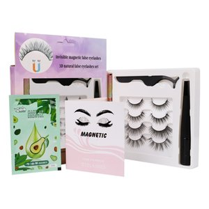 Soft Light Natural Invisiable Magnetic False Eyelashes With Magnet Eyeliner Tweezer Makeup Removal Glue-free Fake Lashes Handmade Reusable DHL Free