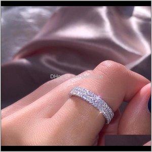 Solitaire Us European Latest Desig Luxury Jewelry Women 925 Sterling Sier Natural White Sapphire Three Row Diamond Ring Fvlkt Zuw04
