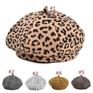 Feint Femmes Retro Leopard Béret Princess Girls Laine Béret Fedora Bonnet Dames Octagonal Cap Trilby Bonnet Chapeau Peintre Newboy Hat CZ120803