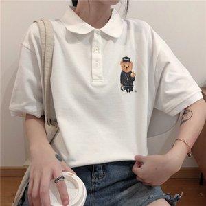 Polo Shirt Short Sleeve T-shirt Women's Lazy Style Medium Length Top Large Dress