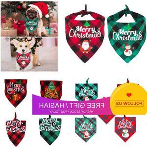 Pañuelo a cuadros Triángulo Baberos Kerchief Feliz Navidad Santa Snowman Lámina Bandana para S M L Dog Cat Pet HH9-3575